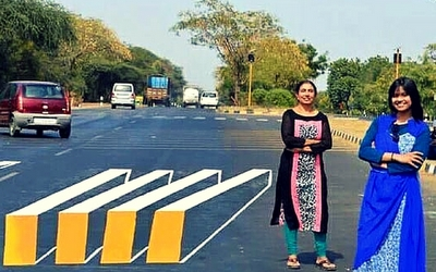 Indian artists and their 3-D crosswalk design