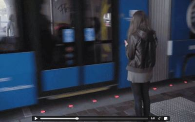Red lights on the ground warn pedestrians in Germany
